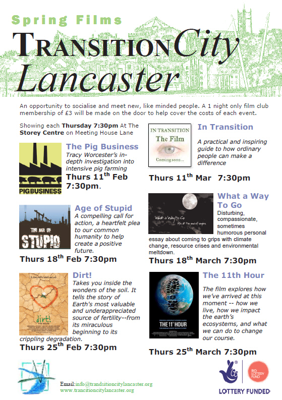 Timetable for the TransitionCity Lancaster spring film season